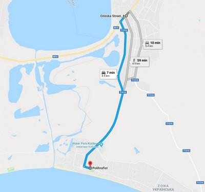 Автостанція Коблево 1 – База відпочинку Поліграфіст